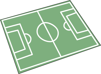 An empty soccer field. Image was created by modifying Soccer_field_icon.svg by Quatar.