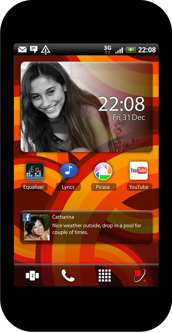 Personalized home screen, play style preset, red wallpaper
