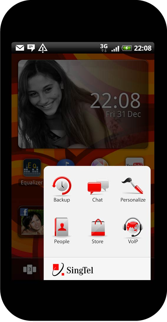 Home screen and dock app, operator folder view