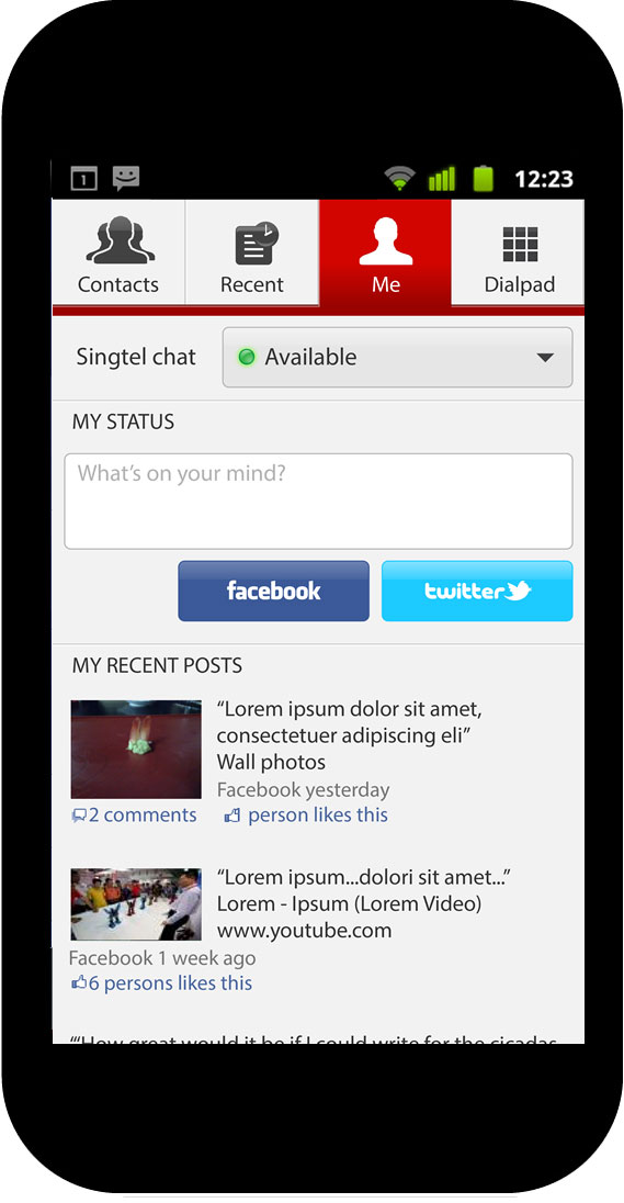 Social phone book app, own profile page