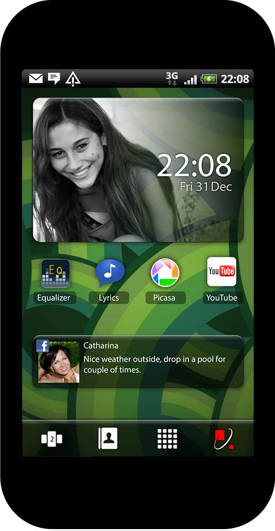 Personalized home screen, play style preset, green wallpaper