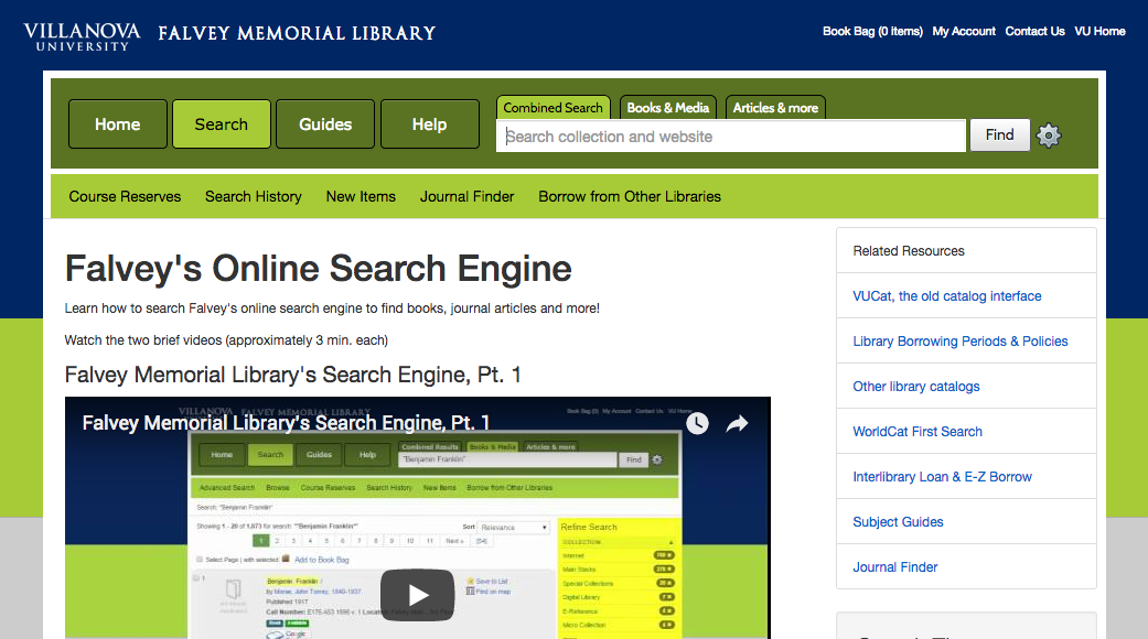 A screenshot of Villanova University library VuFind version