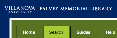 Villanova library site header shows their organization name.