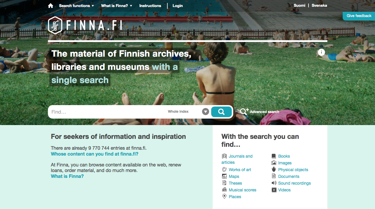 Finna.fi front page. Finna.fi makes the materials of Finnish archives, libraries and museums available in one search.