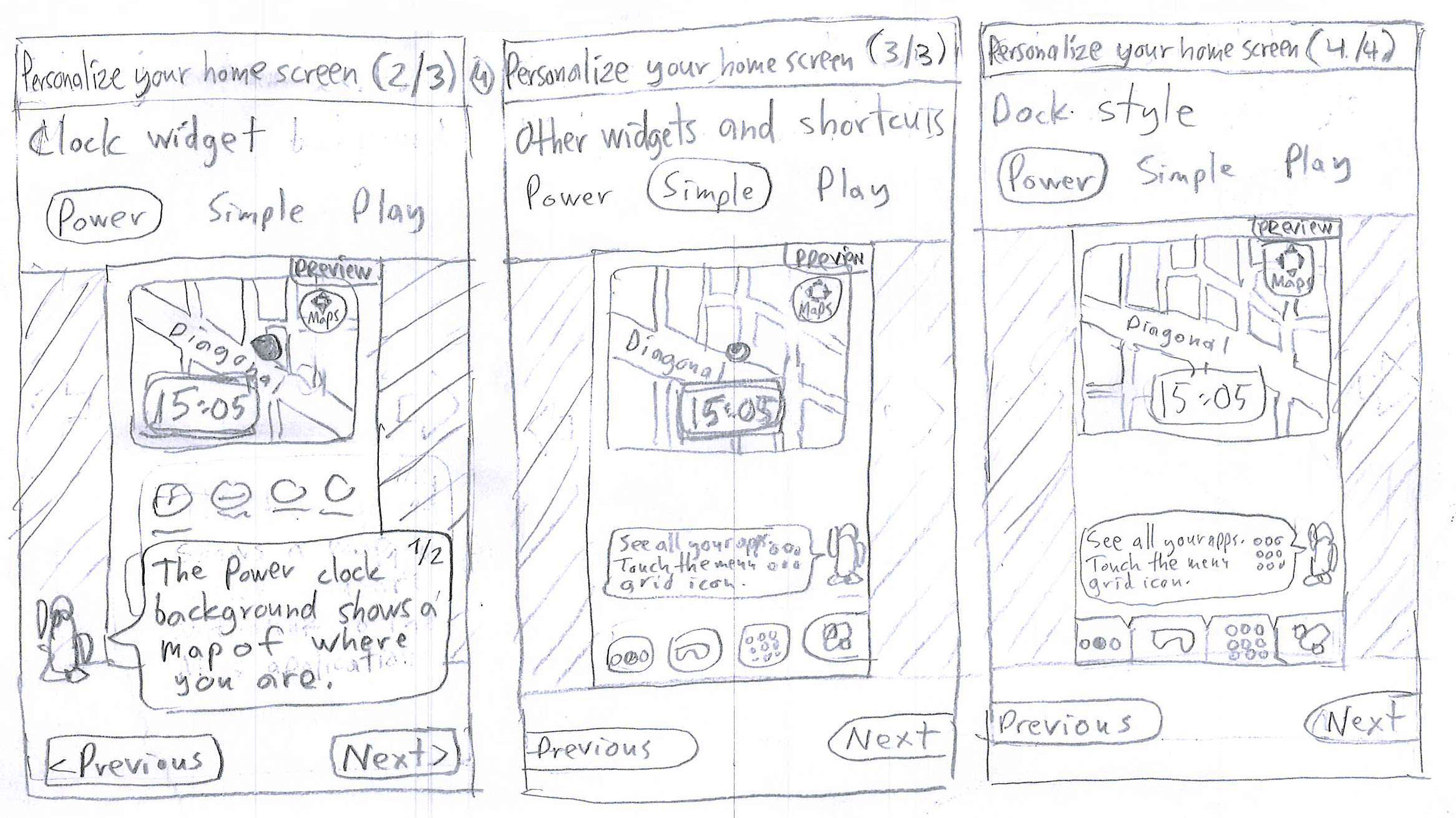 Paper Prototyping, sketch 1/2